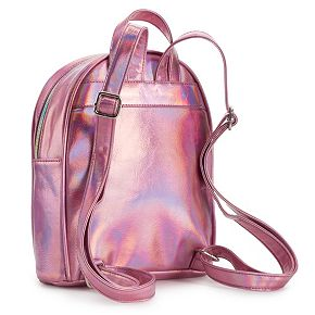 OMG Accessories Rose Embroidered Iridescent Mini Backpack