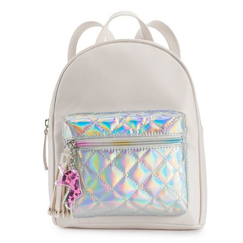 OMG Accessories Quilted Hologram Mini Backpack