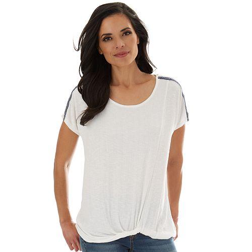 Women's Apt. 9® Twist-Hem Dolman-Sleeve Top