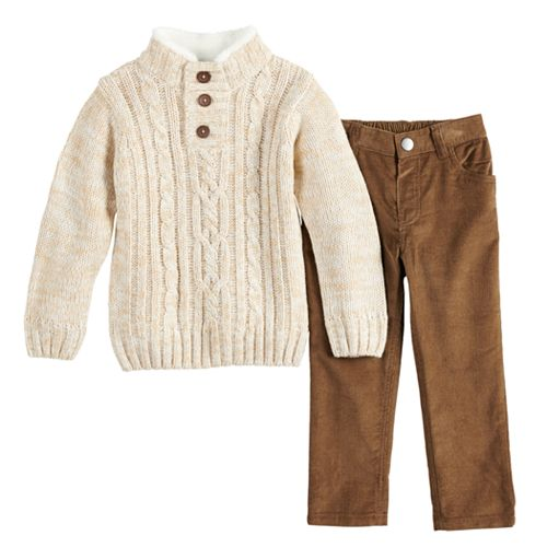 f864dc759 Baby Boy Little Lad Cable Knit Sweater & Corduroy Pants Set