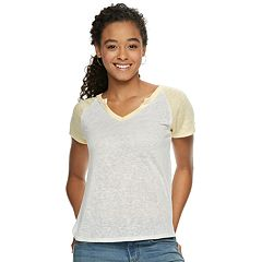 Juniors' SO® Short Sleeve Splitneck Baseball Tee