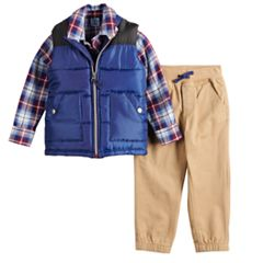 Baby Boy Little Lad Vest, Plaid Shirt & Jogger Pants Set