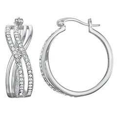 Chrystina Crystal Twist Hoop Earrings