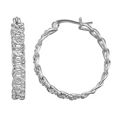 Chrystina Crystal Link Hoop Earrings