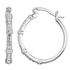 Chrystina Crystal Station Hoop Earrings