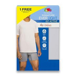 Men's Fruit of the Loom Signature Everlight Go Active 3-pack + 1 Bonus Crewneck Tees