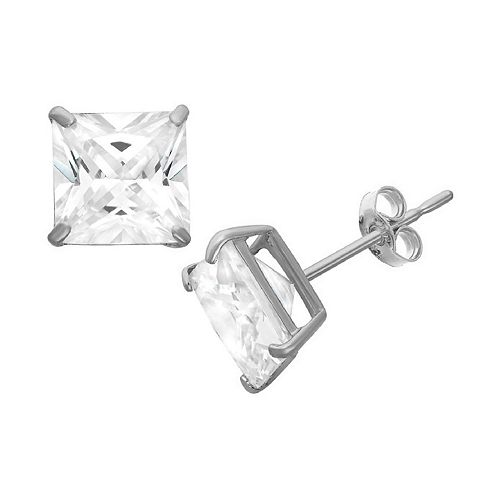 Men's Sterling Silver Cubic Zirconia Square Stud Earrings