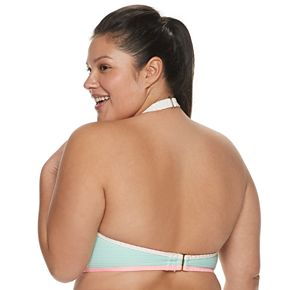 Plus Size SO® Pop Stitch Ribbed Bikini Top
