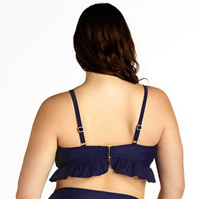 Plus Size SO® Tie Front Flounce Triangle Bikini Top