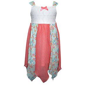 Girls 4-6x Blueberi Boulevard Floral Pieced Handkerchief-Hem Sundress