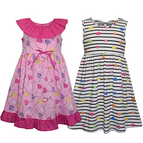 Girls 4-6x Blueberi Boulevard 2-pack Heart Print Dresses