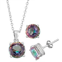 Sterling Silver Simulated Birthstone Pendant & Stud Earring Set