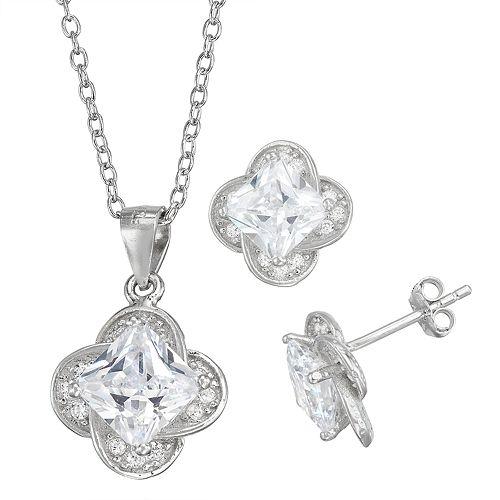 Sterling Silver Simulated Birthstone Quatrefoil Pendant & Stud Earring Set