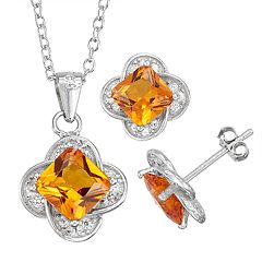 Sterling Silver Simulated Birthstone Quatrefoil Pendant & Stud Earring Set