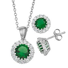 Sterling Silver Simulated Birthstone Halo Pendant & Stud Earring Set
