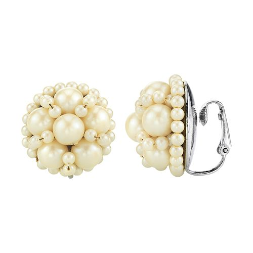 1928 Silver Tone Simulated Pearl Stud Clip-On Earrings