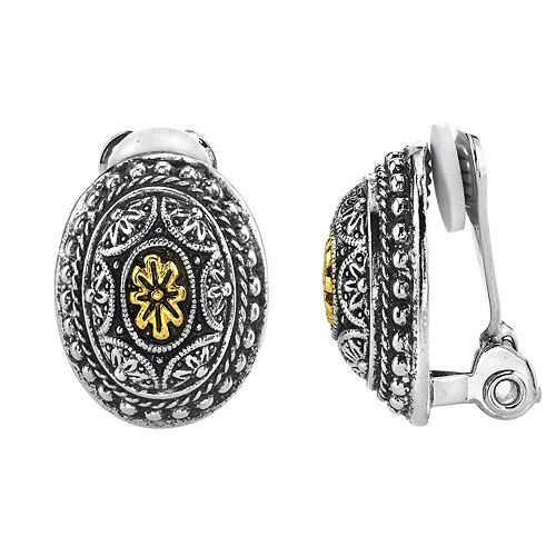 1928 Silver & Gold Tone Engraved Clip-On Oval Stud Earrings