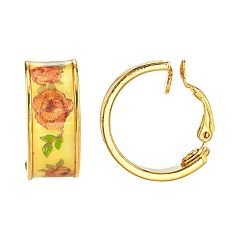 1928 Gold Tone Yellow Floral Hoop Earrings
