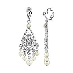 1928 Silver Tone Simulated Stone & Pearl Chandelier Drop Earrings
