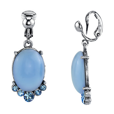 1928 Silver Tone Blue Simulated Stone & Crystal Drop Earrings