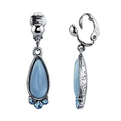 1928 Silver Tone Blue Simulated Stone & Crystal Teardrop Earrings