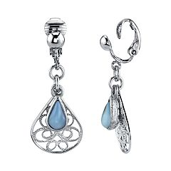 1928 Silver Tone Blue Simulated Crystal Filigree Drop Earrings