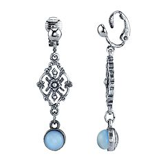 1928 Silver Tone Filigree Detail Blue Simulated Crystal Linear Drop Earrings