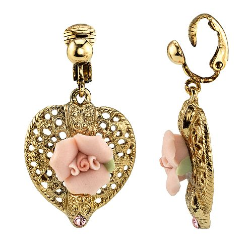 1928 Gold Tone Filigree Pink Rose Detail Heart Drop Earrings