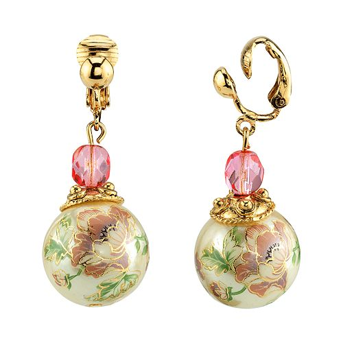 1928 Gold Tone Pink Bead Flower Decal Simulated Pearl Linear Drop Earrings