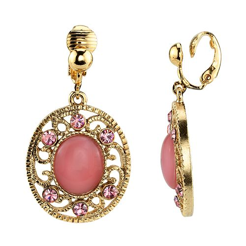 1928 Gold Tone Filigree Pink Simulated Stone & Crystal Drop Earrings