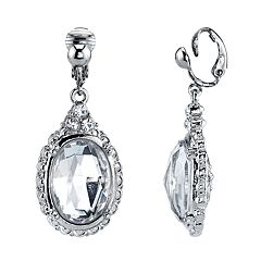 1928 Silver Tone Simulated Stone & Crystal Oval Linear Drop Earrings
