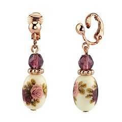 1928 Rose Gold Tone Purple Bead Flower Motif Porcelain Drop Earrings