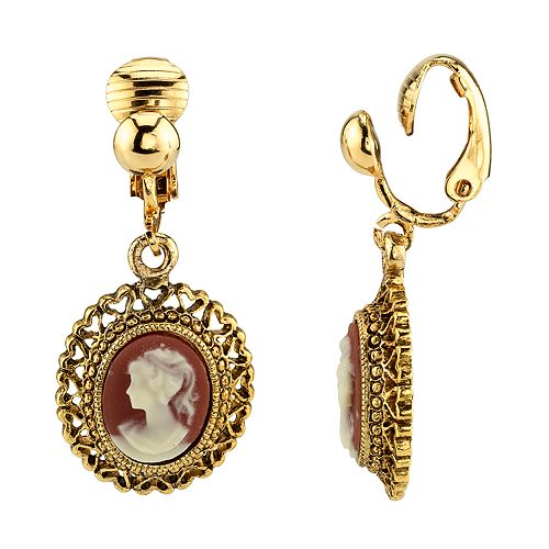 1928 Gold Tone Filigree Woman Cameo Detail Clip-On Drop Earrings