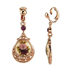 1928 Rose Gold Tone Filigree Purple Simulated Stone Floral Decal Drop Earrings