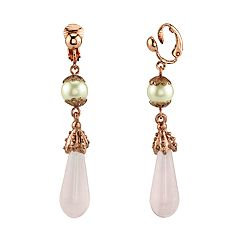 1928 Rose Gold Tone Simulated Pearl & Rose Quartz Clip-On Drop Earrings