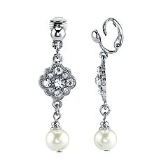 1928 Silver Tone Simulated Stone & Pearl Clip-On Linear Drop Earrings