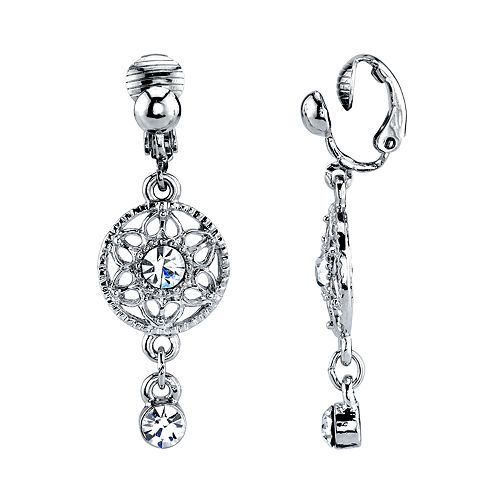 1928 Silver Tone Filigree Simulated Stone Clip-On Linear Drop Earrings