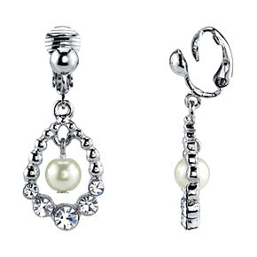 1928 Silver Tone Simulated Stone & Pearl Orbital Drop Clip-On Earrings