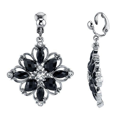 1928 Silver Tone Black Simulated Stone Flower Motif Clip-On Drop Earrings