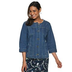 Women's Croft & Barrow® Collarless Jean Jacket