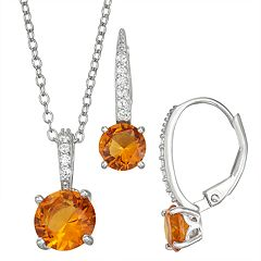 Sterling Silver Simulated Birthstone Pendant & Leverback Earring Set