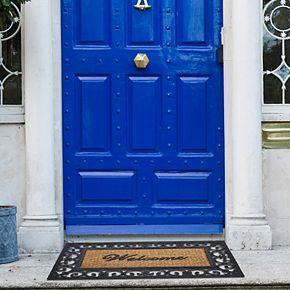 Achim Fleur-de-Lis Wrought Iron Look Rubber Doormat - 18'' x 30''