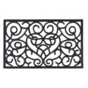 Achim Iron Heart Wrought Iron Look Rubber Doormat - 18'' x 30''