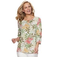 Women's Cathy Daniels Embellished Tropical Floral Top