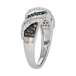 Sterling Silver 1/3 Carat T.W. Black, Blue & White Diamond Ring