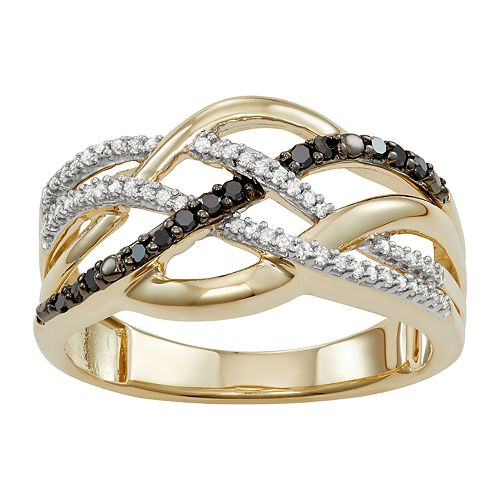 10k Gold 1/4 Carat T.W. Black & White Diamond Crisscross Ring