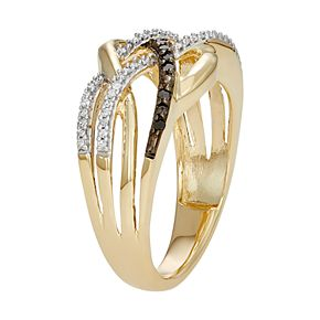 10k Gold 1/4 Carat T.W. Black & White Diamond Crisscross Ring