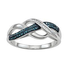 Sterling Silver 1/6 Carat T.W. Blue & White Diamond Crisscross Ring