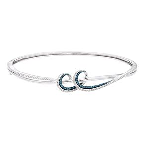Sterling Silver 1/3 Carat T.W. Blue & White Diamond Swirl Bangle Bracelet
