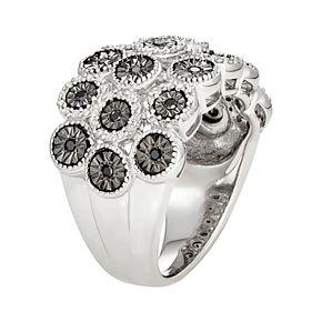 Sterling Silver 1/2 Carat T.W. Black & White Diamond Dome Ring
